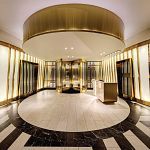 Stainless steel creates a luxurious entrance
