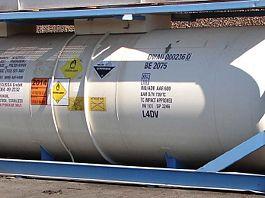 A storage tank for hydrogen peroxide.