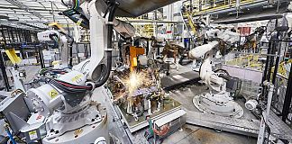 Spot welding cell at a Volvo factory in China. Photo: ABB.