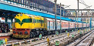 A passenger train at New Delhi railway station.