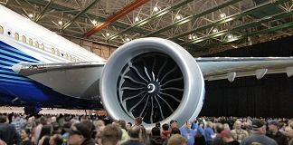 GE's GE9X under the wing of the Boeing 777X