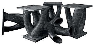 3D printed series of connectors in duplex stainless steel.