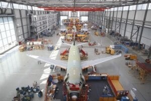 The Airbus A320 in its hanger.