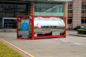 The Langh Group used Outokumpu's Supra 316plus for their liquid transport containers to allow for thinner wall thickness – meaning a lower overall container weight – while excellent corrosion resistance enables transportation of aggressive liquids. Courtesy Outokumpu.
