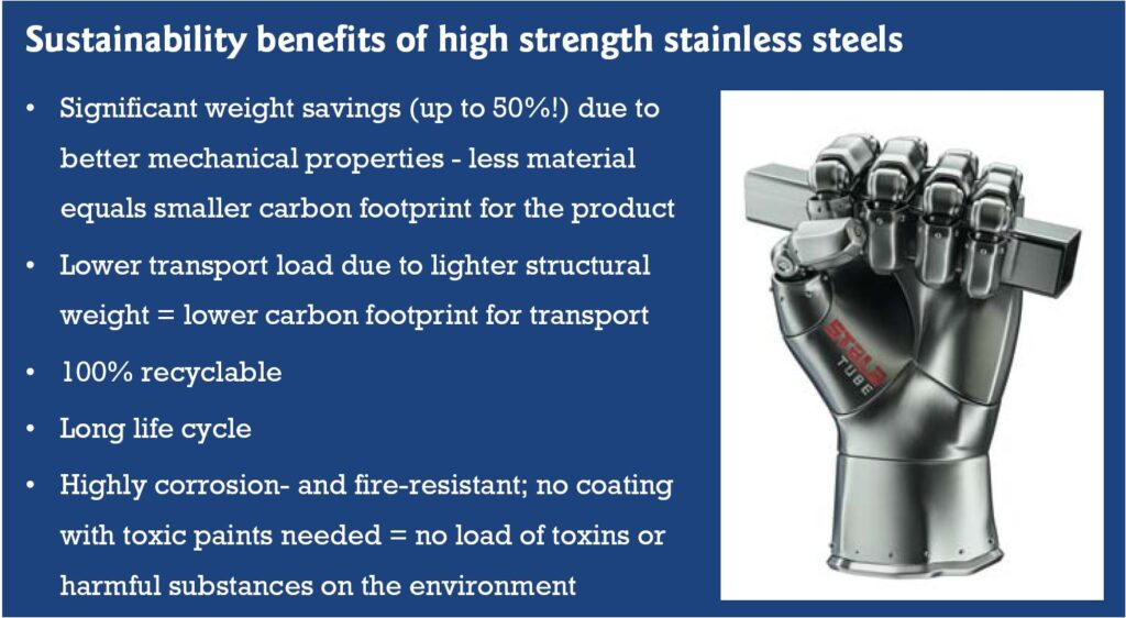 Sustainability benefits of high strength stainless steels